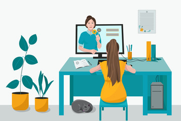 Remote home-based online training. A schoolgirl with a computer sits at a table in his house and listens to a school lesson. Vector flat illustration. The concept of individual and distance learning.