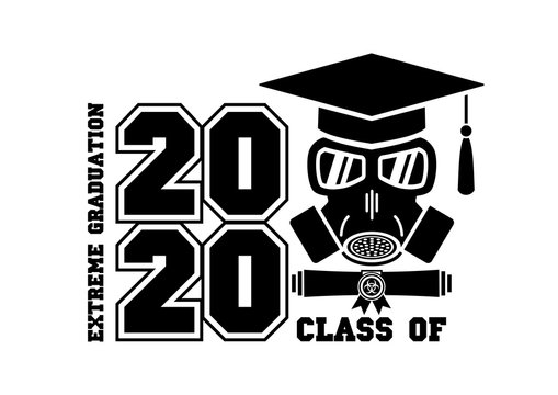 2020 Quarantine extreme graduation party. Graduate in a respirator and goggles. Concept for the design of a greeting card, logo, flyer, t-shirt design. Illustration, vector