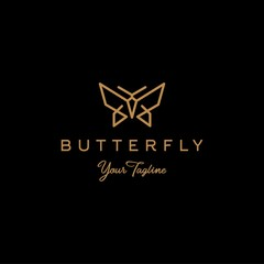 butterfly logo vector line outline monoline icon illustration, elegant and simple geometric insect