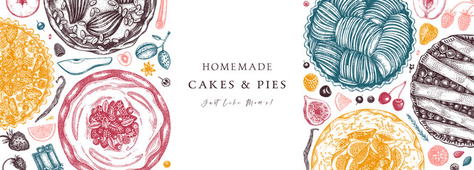 Berries cakes and pies banner. Hand drawn baking cakes, pies and fresh berries design in color. Homemade summer dessert recipe book template.  Fototapete