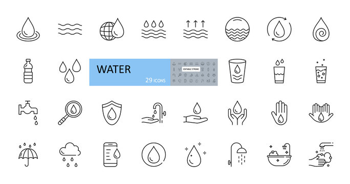 Vector set of water icons. Editable Stroke. A drop of water, on a globe, from a faucet, smartphone, glass, magnifier, washing hands, shower