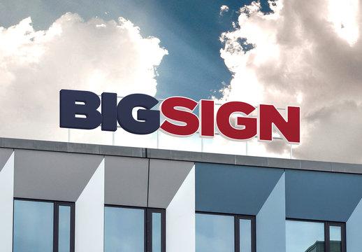 Big Sign Logo Mockup on Building Roof