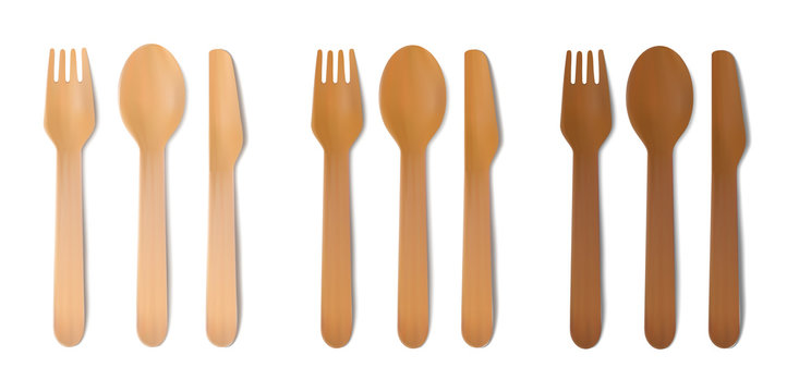 Disposable wooden cutlery. Vector fork, spoon and knife