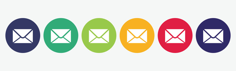 6 circles set with mail icon in various colors. Vector illustration.