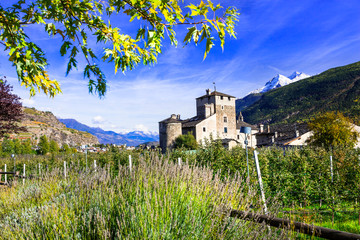 Impressive Alps mountains, scenic valley of castles and vineyards , beautiful Valle d'Aosta in northern Italy