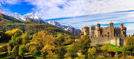 Medieval castles of Italy - beautiful Castello di Fenis in Valle d'Aosta surrounded by Alps mountains
