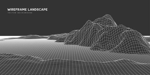 Digital wareframe landscape background. 3d futuristic technology vector illustration. Fotomurales