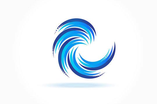 Logo blue spiral waves ocean beach swirl vector icon