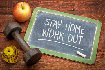 stay home, work out - social distancing concept