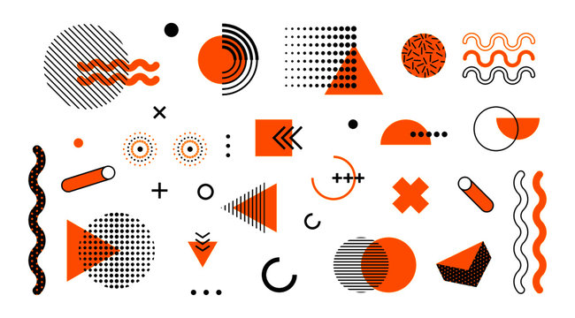 Abstract geometric memphis shapes. Mega set circle triangle elements hipster style. Modern retro geometry concept vector yellow halftone illustartion isolated on white background