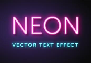 Vector Neon Text Effect Mockup