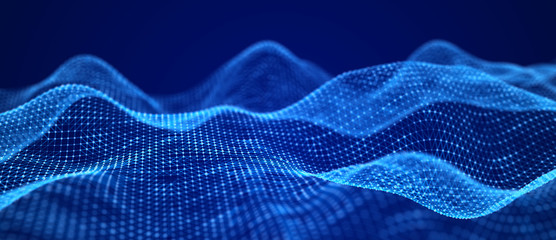 Blue wave. Abstract technology background. Science background. Big data. 3d rendering. Network connection.