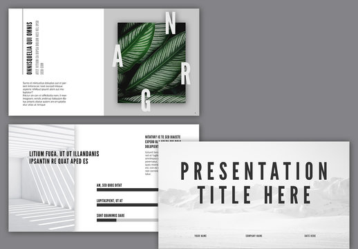 Presentation Layout with Black and White Accents
