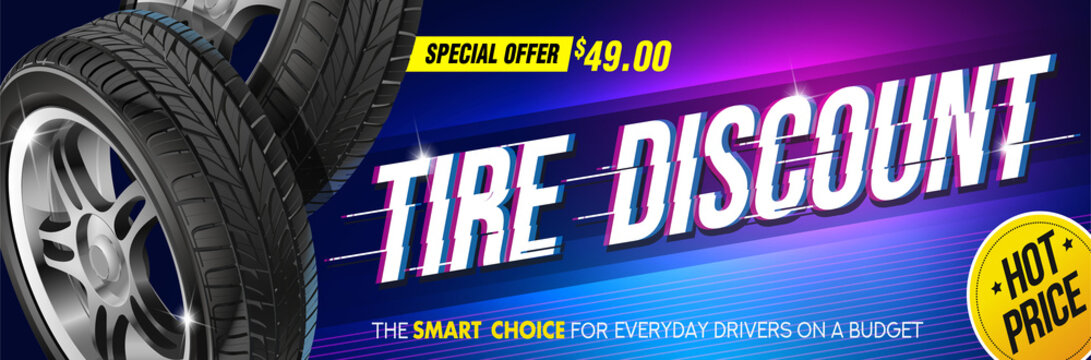 Discount. Tire car advertisement poster. Black rubber tire. Realistic vector shining disk car. Information. Store. Action. Landscape poster, digital banner, flyer, booklet, brochure and web design.