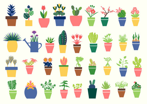 Vector Houseplants icons set. Flat collection of houseplants vector icons for web design.