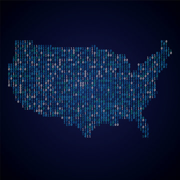 USA country map made from digital binary code