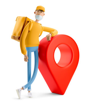 Safe delivery concept. 3d illustration. Cartoon character. Delivery guy in medical mask and yellow uniform stands with the big bag and a red pin.