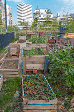 Gennevilliers, France - 04 11 2020: Shared vegetable bins in an eco-district