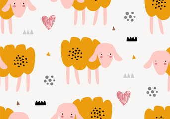 Animal seamless pattern with sheep.