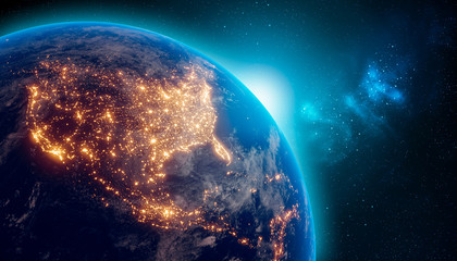 Earth at night from outer space with city lights on North America continent. 3D rendering illustration. Earth map texture provided by Nasa. Energy consumption, electricity, industry, ecology concepts.