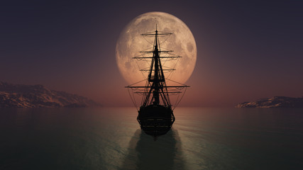 Fotorolgordijn Schip old ship in the night full moon illustration