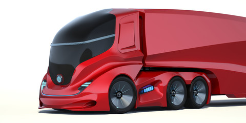Printed roller blinds Cars 3D rendering of a brand-less generic concept truck. Electric autonomous truck on white background
