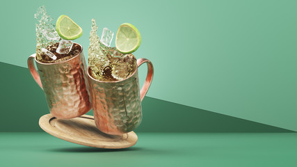 Two Moscow Mules Splash Left Frame During Happy Hour