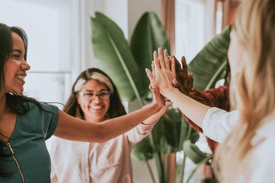 Positive women teamwork