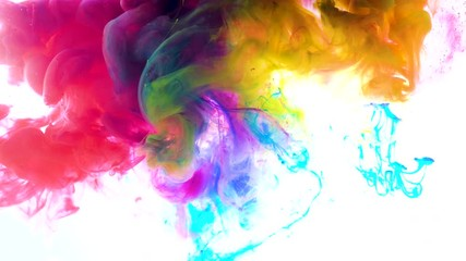 Fototapete - 4K, Colorful drops in water, abstract color mix,  paint splash on water ,4K footage,
