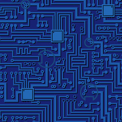 Circuit board pattern. Vector hi tech computer chip seamless electronic simple blue background