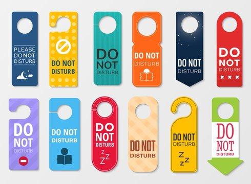 Do not disturb door hanger signs of hotel room
