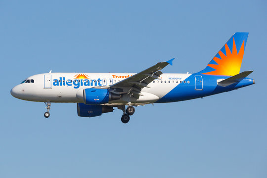 Allegiant Air Airbus A319 airplane at Los Angeles airport