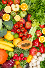 Wall Mural - Background food fruits and vegetables collection fruit vegetable portrait format healthy eating diet apples oranges tomatoes