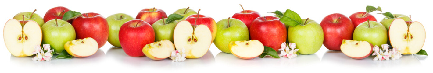 Wall Mural - Apple fruits collection banner red and green apples fruit isolated on white in a row