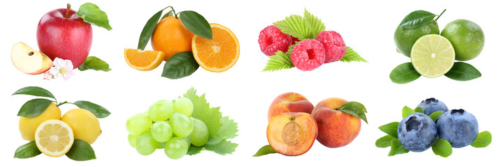 Wall Mural - Food collection fruits apple orange grapes apples oranges lemon peach fresh fruit isolated on white
