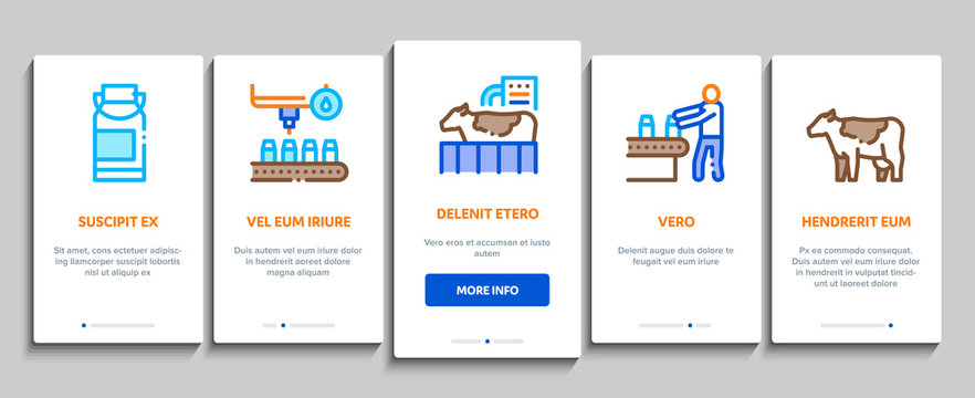 Milk Factory Product Onboarding Mobile App Page Screen Vector. Cow And Milk In Can, Conveyor And Plant, Bottle And Package, Truck Delivery And Machine Color Contour Illustrations