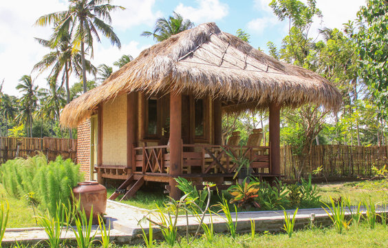 Sasak bamboo house in Lombok resort, Indonesia