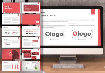 Red and White Digital Brand Manual Layout