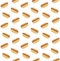 Vector seamless pattern of hand drawn doodle sketch colored hot dog isolated on white background
