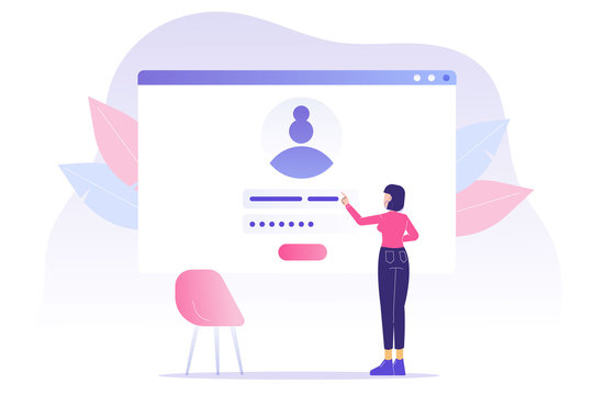 Online registration and sign up concept. Young woman signing up or login to online account with user interface. Secure login and password. Modern vector illustration template for UI, mobile app, web