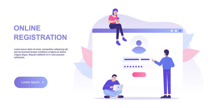Online registration and sign up concept. People signing up or login to online account with user interface. Secure login and password. Vector illustration landing template for UI, mobile app, web