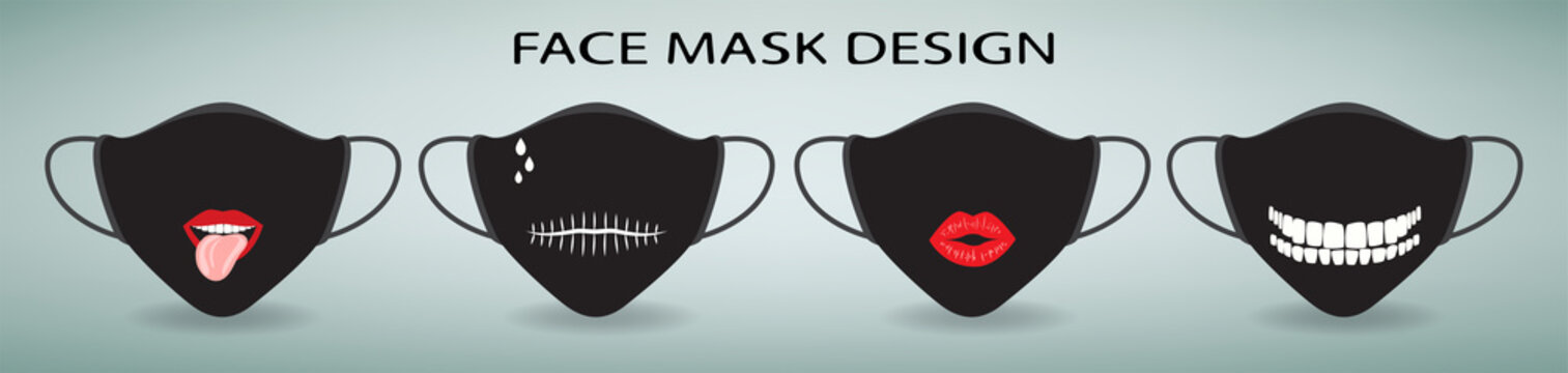Protective face mask design. Set of 4 cartoon masks with print.