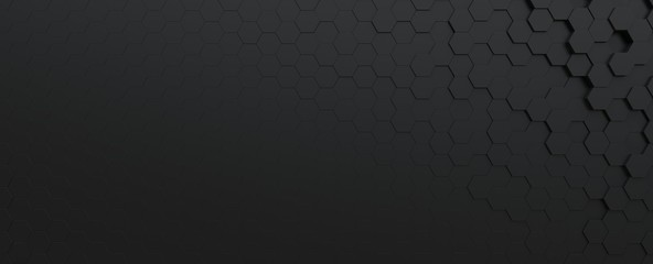 Fotobehang - Science and technology black hexagonal tiles abstract technology background