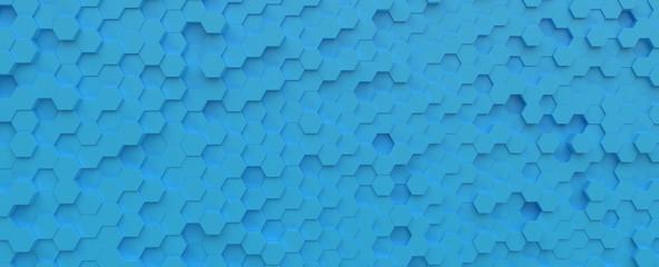 Fotobehang - Science and Technology Hexagonal light blue cyan tiles pattern, abstract background texture