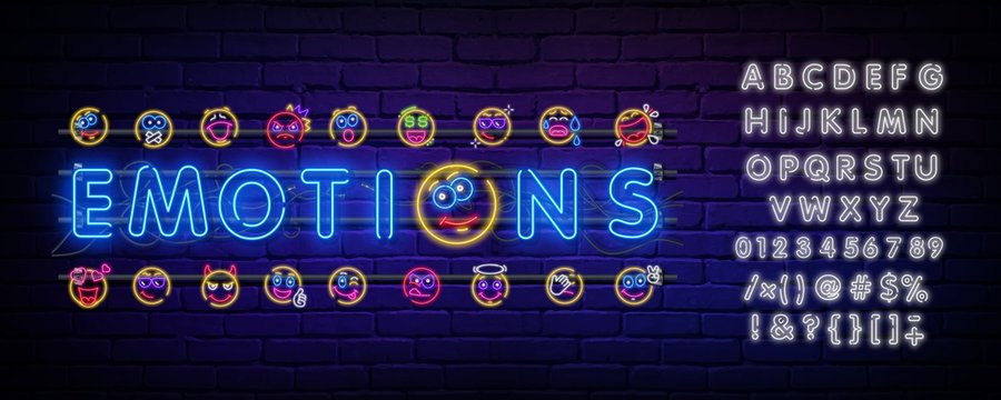 Set of neon happy and angry emoticons, April fools ' Day. Vector silhouette of a neon pair of discontented emoticons, consisting of contours, illuminated on a dark background with text.