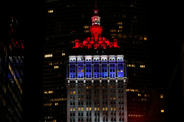 "Helmsley Building illuminated in red white and blue as part of ""Light It Blue"" initiative during outbreak of coronavirus disease (COVID-19) in New York"