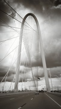 Margaret Hunt Hill Bridge Against Cloudy Sky