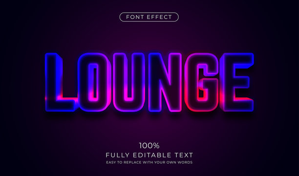 3d LED wall signage text effect. Editable font style