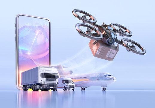Online contactless drone delivery service during coronavirus covid-19 pandemic crisis. Safe modern delivery, autonomous logistics concept 3D illustration. UAV quadcopter drone delivering package box
