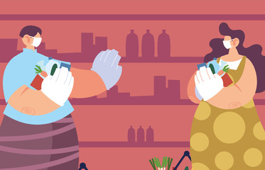 Poster Superheroes people with medical masks doing shopping in supermarket, social distancing